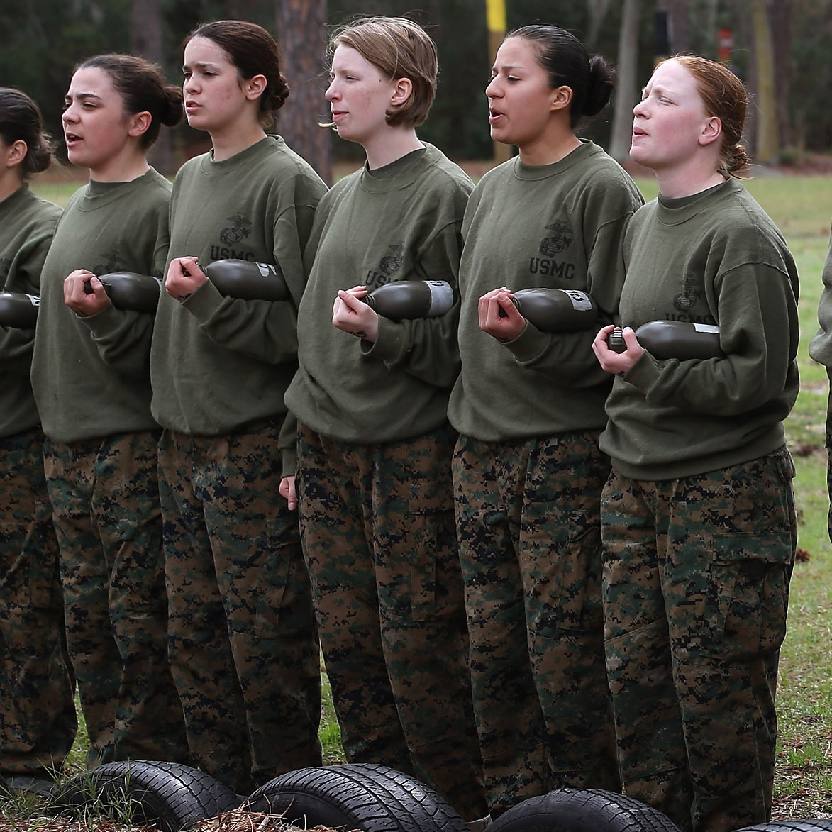 Recruits listen to instructions during boot camp at the Marine Corps Recruit Depot on Parris Island, S.C., on Feb. 27.