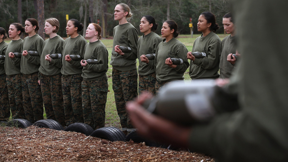 Recruits listen to instructions during boot camp at the Marine Corps Recruit Depot on Parris Island, S.C., on Feb. 27. (Getty Images)