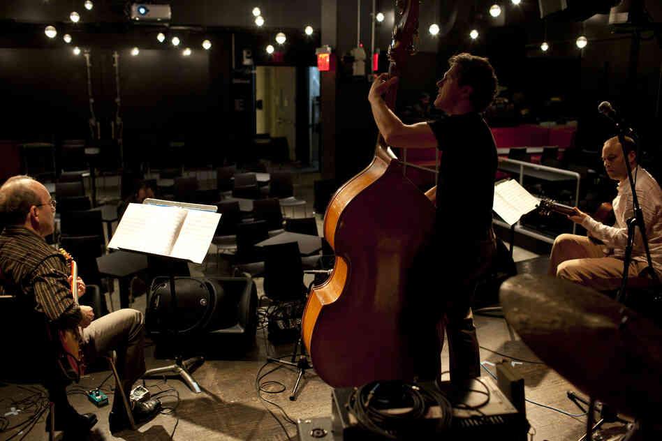 The Rosetta Trio at soundcheck.