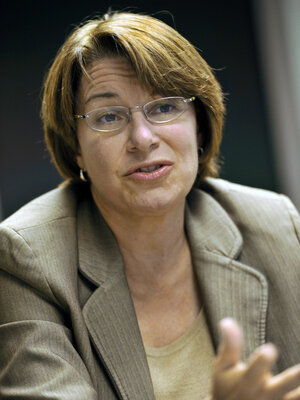 Sen. Amy Klobuchar, a Minnesota Democrat, was joined by Utah Republican Sen. Orrin Hatch in taking steps to try to stop an Obamacare medical device tax.