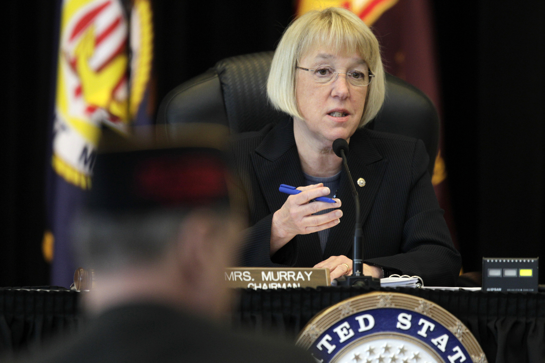 Sen. Patty Murray, D-Wash., speaks at a field hearing of the Senate Veterans' Affairs Committee, in Tacoma, Wash., last year.