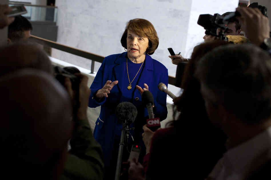 Senate Intelligence Committee Chairman Dianne Feinstein, D-Calif., speaks with reporters on March 5, after a closed-door committee vote on the nomination of John Brennan as CIA director.