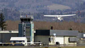 The control tower at Troutdale Airport in Troutdale, Ore., one of the towers slated