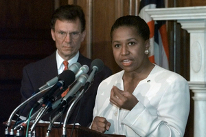 Former Sen. Carol Moseley-Braun, D-Ill., accompanied by then-Senate Minority Leader Tom Daschle of South Dakota, speaks on Capitol Hill in 1997. After being elected to the Senate in 1992, Moseley-Braun was one of two women named to the all-male Judiciary Committee.