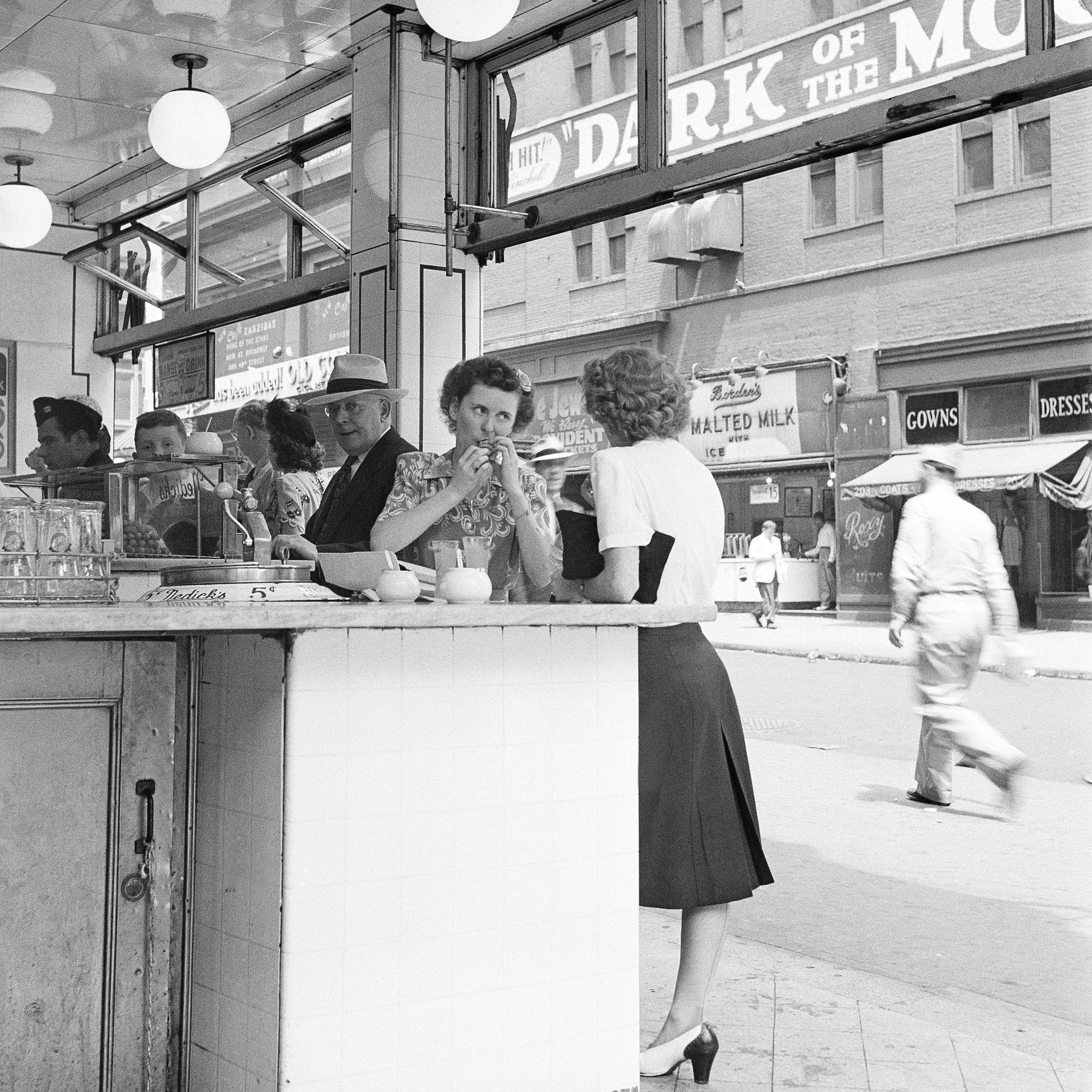 A crowded soda fountain on Broadway in New York City, 1945.