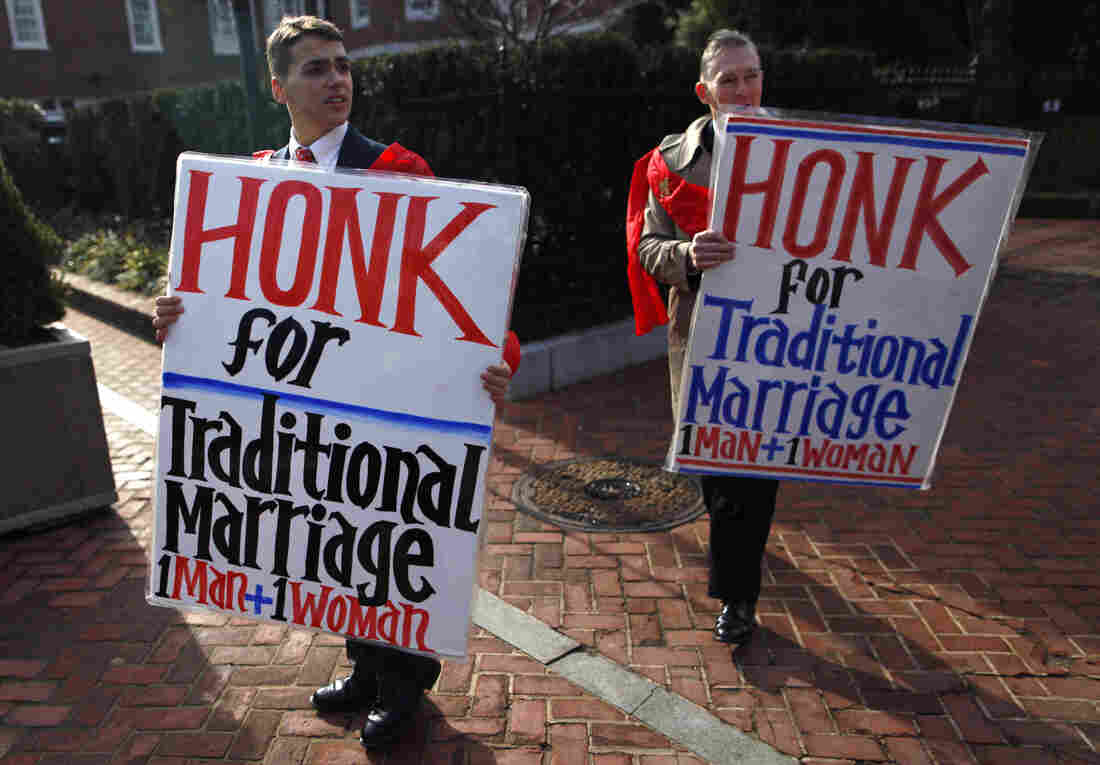 Zachariah Long (left) and Edward Ritchie protested last year against a gay marriage bill in Maryland. In 1973, Maryland became the first state to define marriage as a union of one man and one woman. Voters there legalized gay marriage in 2012.