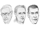 (Left to right) Sketches of Henry Kissinger, Hillary Clinton and President Barack Obama