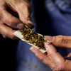 A customer rolls a joint made of half marijuana and half tobacco in Olympia, Wash., on December 9, 2012.