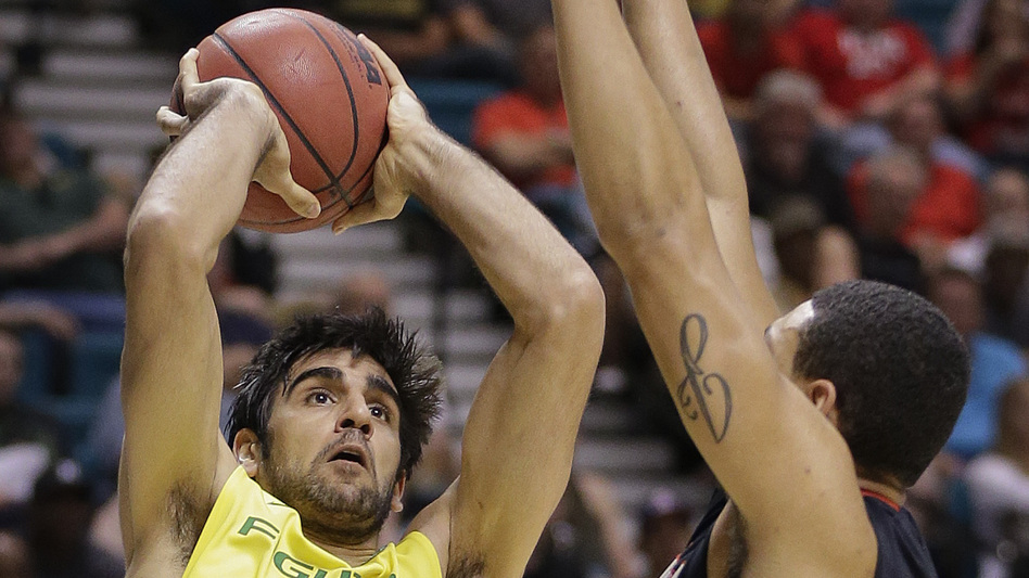 Rebounding machine Arsalan Kazemi is the first Iranian-born player in Divison I men's college hoops. (AP)