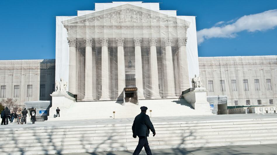 Supreme Court justices will hear arguments Tuesday on California's Proposition 8 ban on same-sex marriage. On Wednesday they'll hear arguments on the federal Defense of Marriage Act, which defines marriage as between one man and one woman. (AFP/Getty Images)