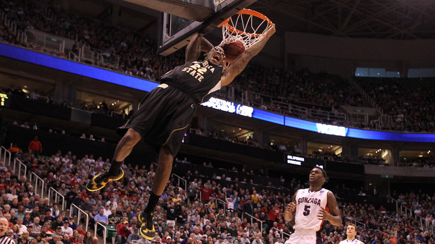 Carl Hall No. 22 of the Wichita State Shockers dunks the ball in the first half while taking on the Gonzaga Bulldogs during the third round of the NCAA men's basketball tournament in Salt Lake City Saturday. (Getty Images)