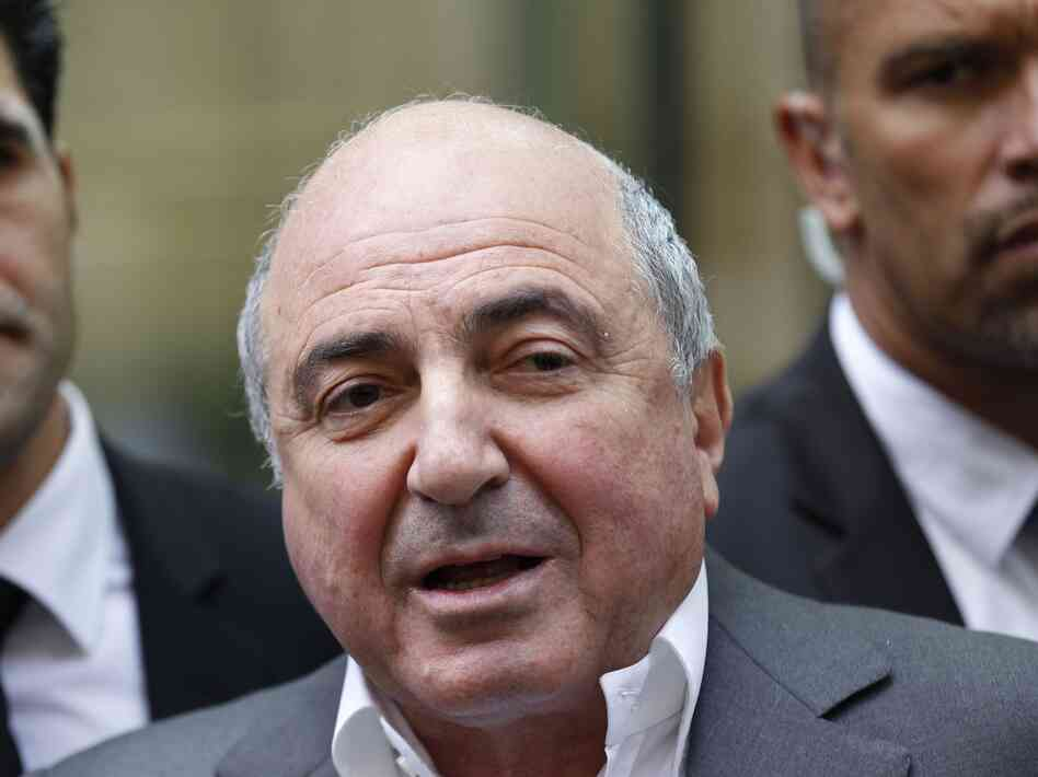 Russian tycoon Boris Berezovsky talks to the media on Aug. 31, 2012, after losing his case against Russian oligarch Roman Abramovich in London. Berezovsky was found Saturday dead at his home in Britain.