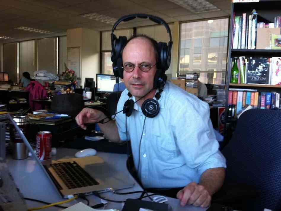 I snapped this picture of All Songs Considered host Bob Boilen when he was particularly flummoxed by his headphones.