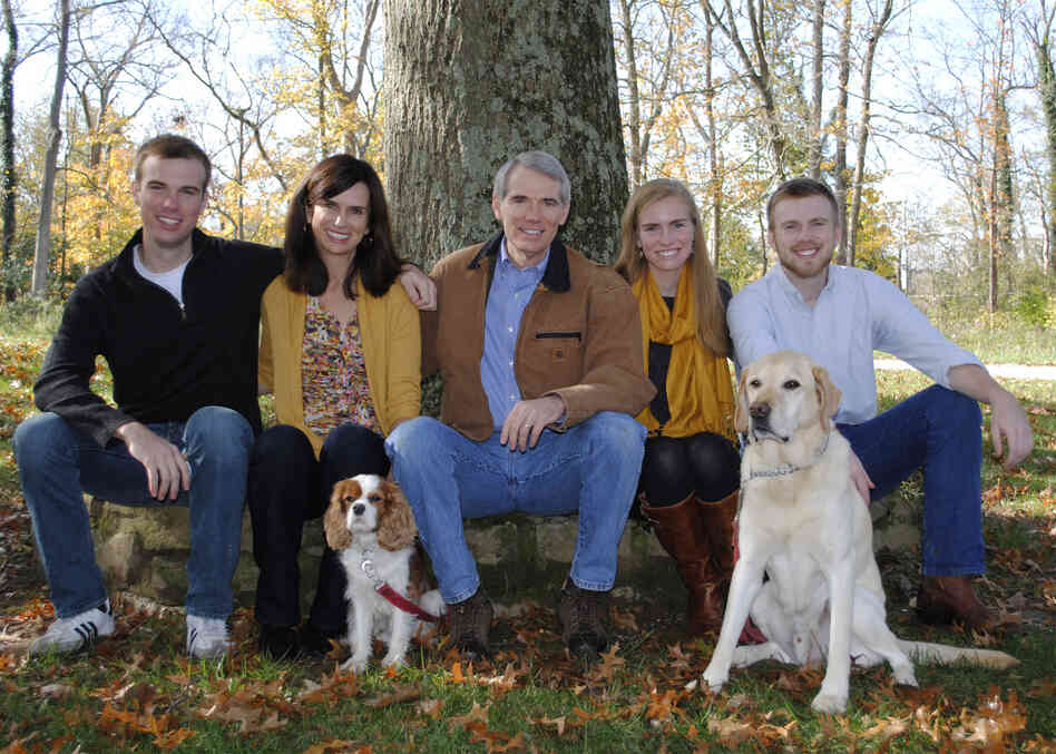 This undated photo provided the office of U.S. Senator Rob Portman shows, from left to right, son Will Portman, wife Jane Portman, Sen. Portman, daughter Sally Portman,