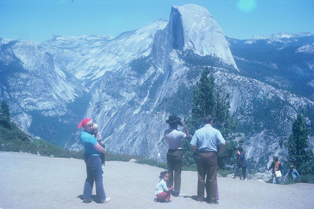 Akpem's Nigerian father with California in-laws looking out at Yosemite.
