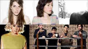 Clockwise from upper left: Valeska Steiner and Sonja Glass of Boy, Matthew Cooper of Eluvium, Vampire Weekend, Annie Hardy of Giant Drag
