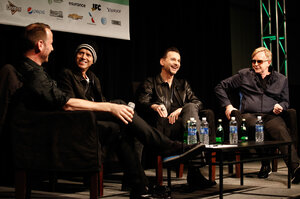 Depeche Mode's Martin Gore (second from left), Dave Gahan (second from right) and Andy Fletcher (right) interviewed on stage at SXSW by KCRW's Jason Bentley.