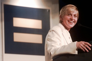 DeGeneres speaks at a Human Rights Campaign national dinner on Nov. 8, 1997, in Washington, D.C.