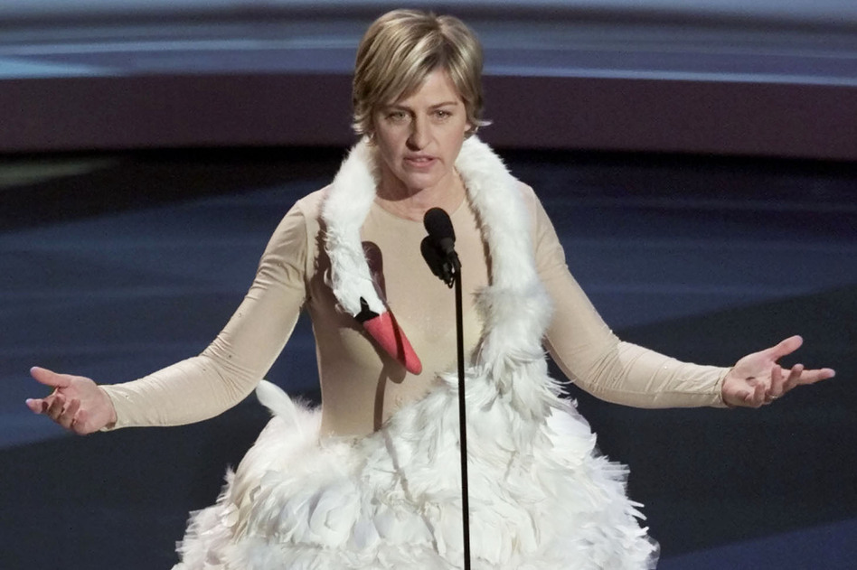 DeGeneres hosted the Emmy Awards in 2001. The dress is similar to one made famous by Icelandic singer Bjork. (Reuters/Landov)