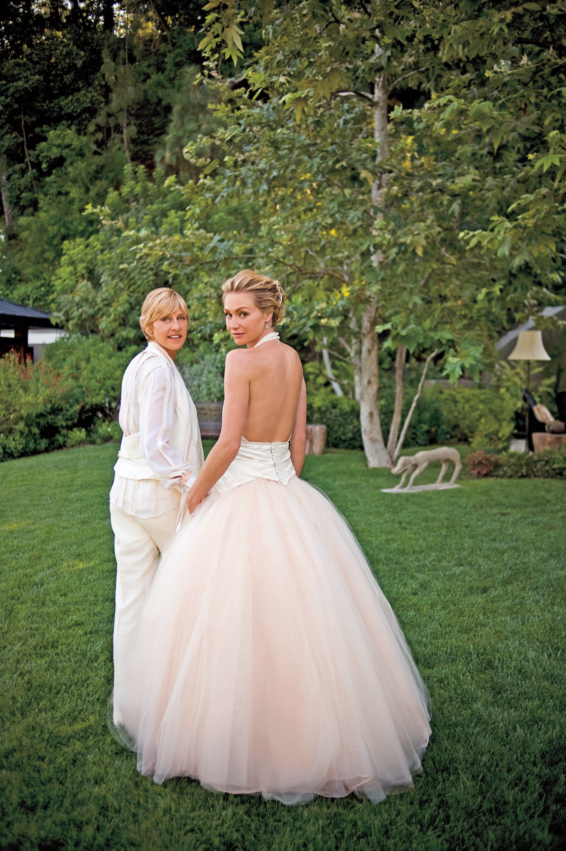 DeGeneres and Portia de Rossi exchanged vows in a ceremony at their Beverly Hills home on Aug. 16, 2008, during the brief period of time when same-sex marriage was legal in California.