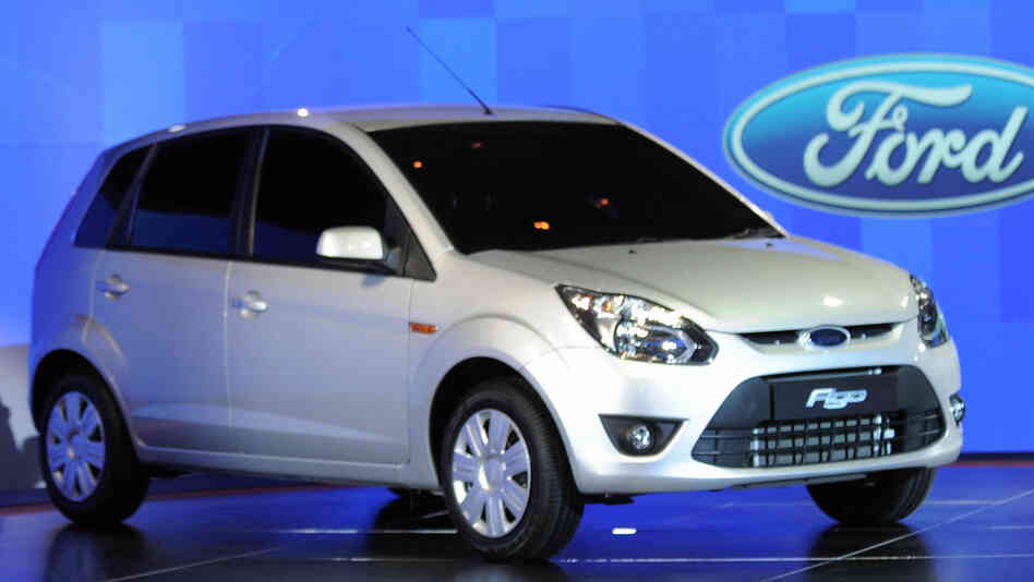 The Ford Figo when it was introduced to India in 2009. A set of edgy illustrations about the car from Ford's ad agency in India have drawn fire.