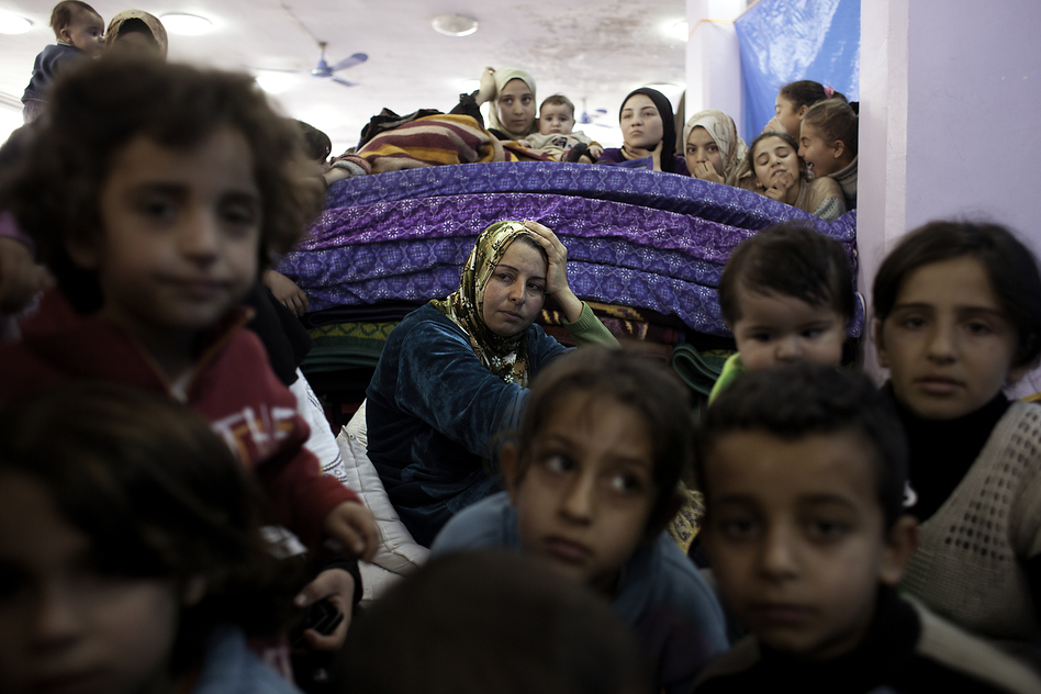 Hundreds of Syrian refugees are now living at a wedding hall in Reyhanli, Turkey. (Jodi Hilton for NPR)