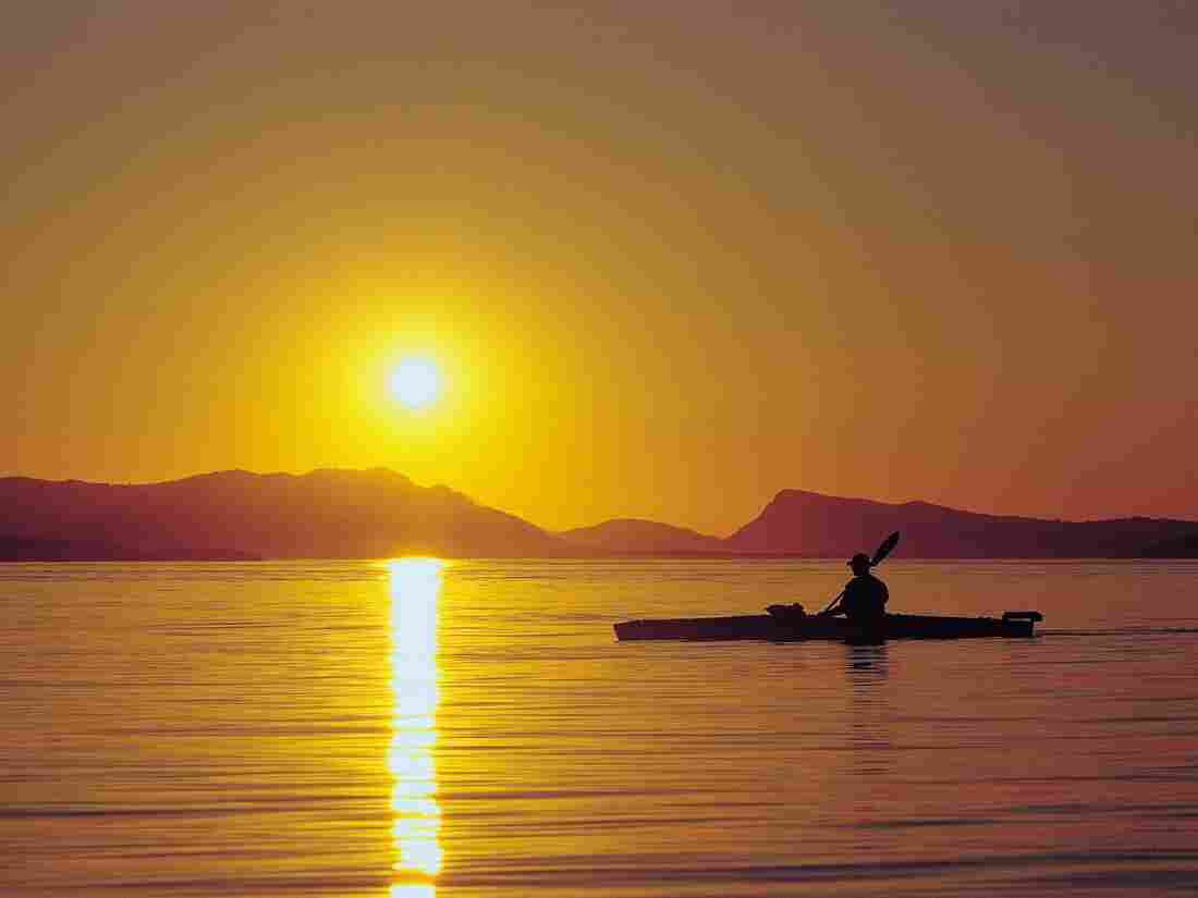 Kayak at Sunset San Juan Islands.