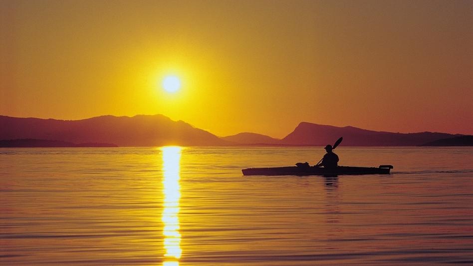 Kayak at Sunset San Juan Islands.
