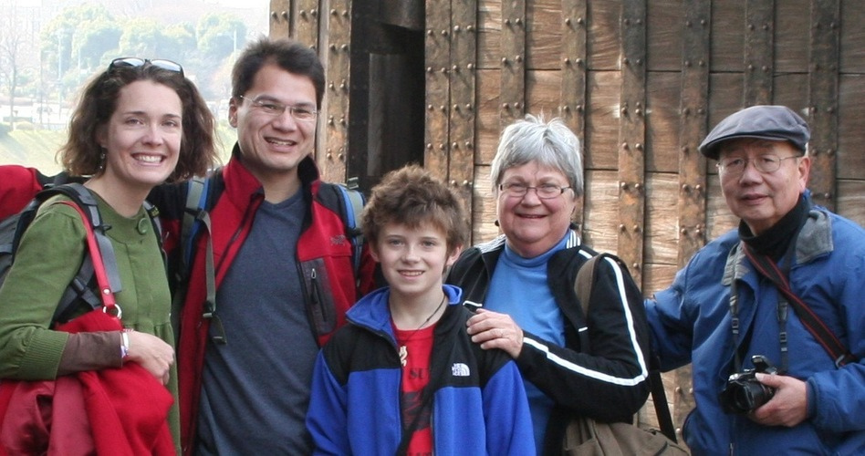 Dave Kung with wife Sarah Tyson (left), stepson Cy Tyson-Brown and parents Sonja and George Kung. (Courtesy of Dave Kung)