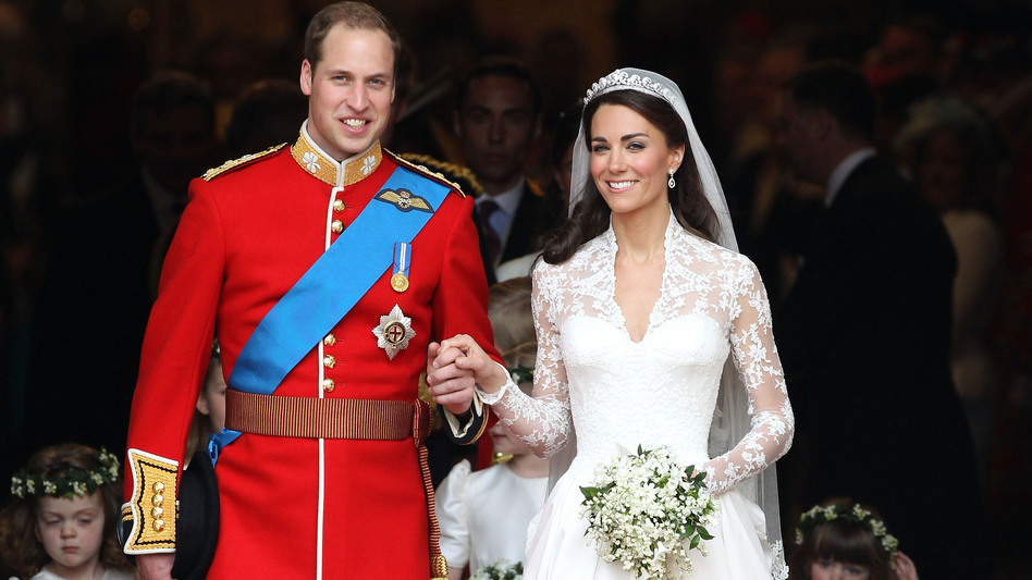 Prince William, Duke of Cambridge and Catherine, Duchess of Cambridge processing out of their wedding ceremony at Westminster Abbey in April 2011. (Getty Images)