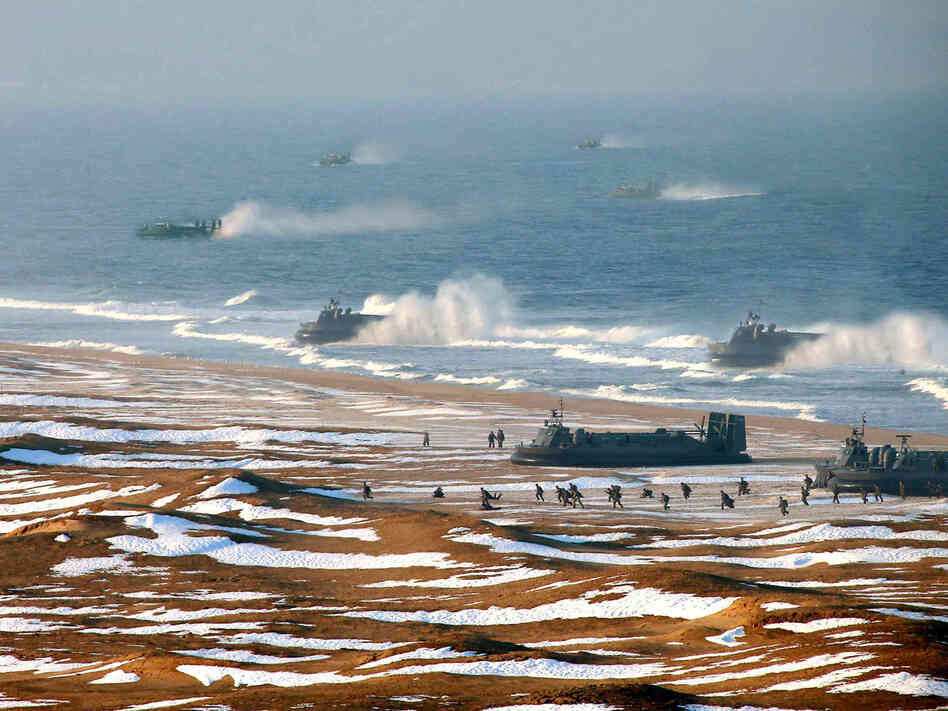 "North Korean ""landing and anti-landing drills"" are shown in a photo released Tuesday."