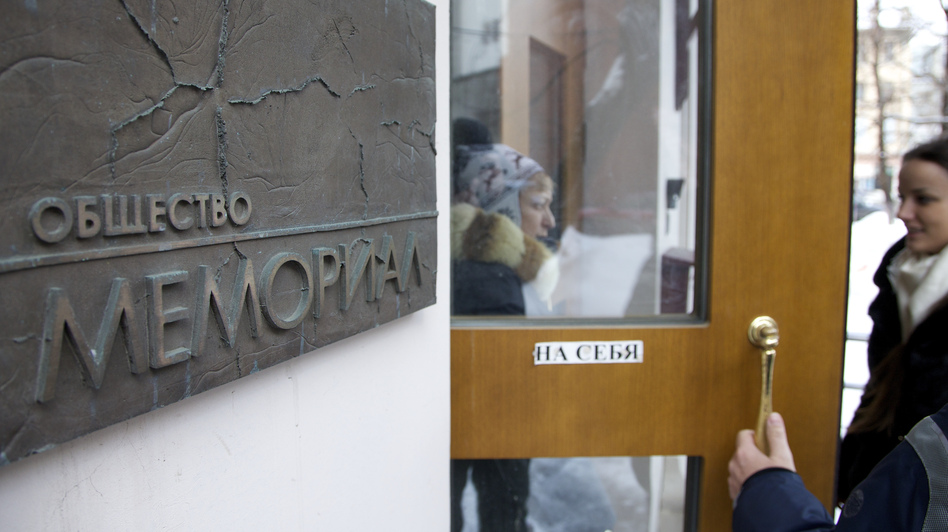 Prosecutors searched for documents related to the activities of the human rights group Memorial in Moscow on March 21. (AP)
