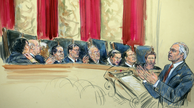 This artist rendering shows attorney Charles J. Cooper, who was defending California's voter-passed ban on gay marriage, addressing the Supreme Court on Tuesday. From left, the justices are Sonia Sotomayor, Stephen Breyer, Clarence Thomas, Antonin Scalia, (Chief Justice) John Roberts, Anthony Kennedy, Ruth Bader Ginsburg, Samuel Alito and Elena Kagan. (AP)
