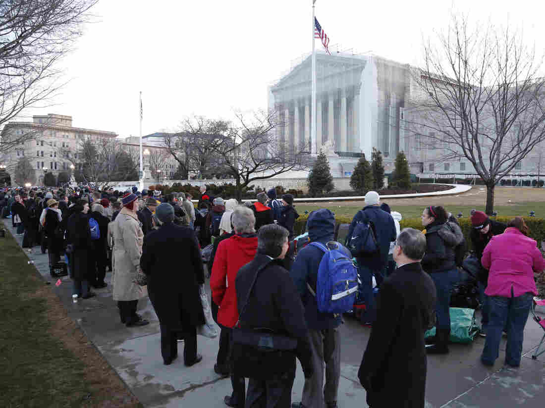 The line was long Tuesday outside the Supreme Court in Washington, D.C., as spectators came to hear the oral arguments about California's Proposition 8.