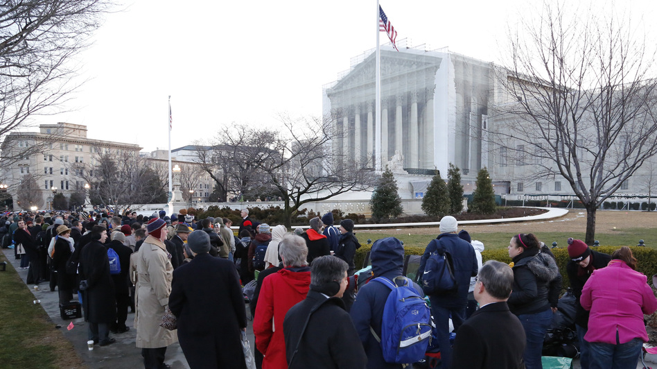 The line was long Tuesday outside the Supreme Court in Washington, D.C., as spectators came to hear the oral arguments about California's Proposition 8. (Reuters /Landov)