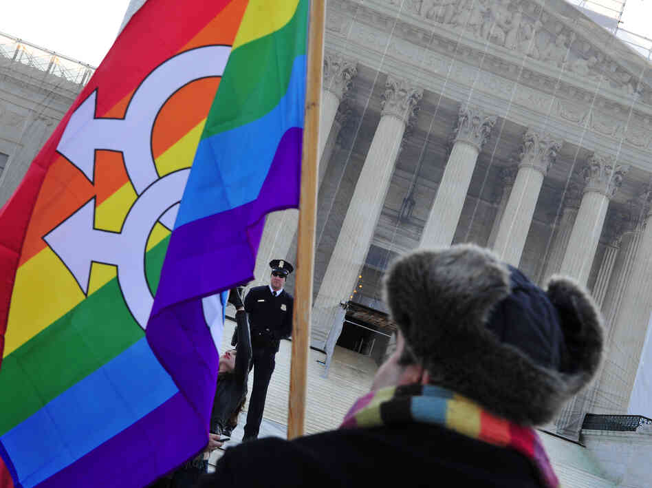 A pro-gay-marriage protester stands in front of the Supreme Court on Tuesday, the first of two days of oral arguments on challenges to laws that limit the definition of m