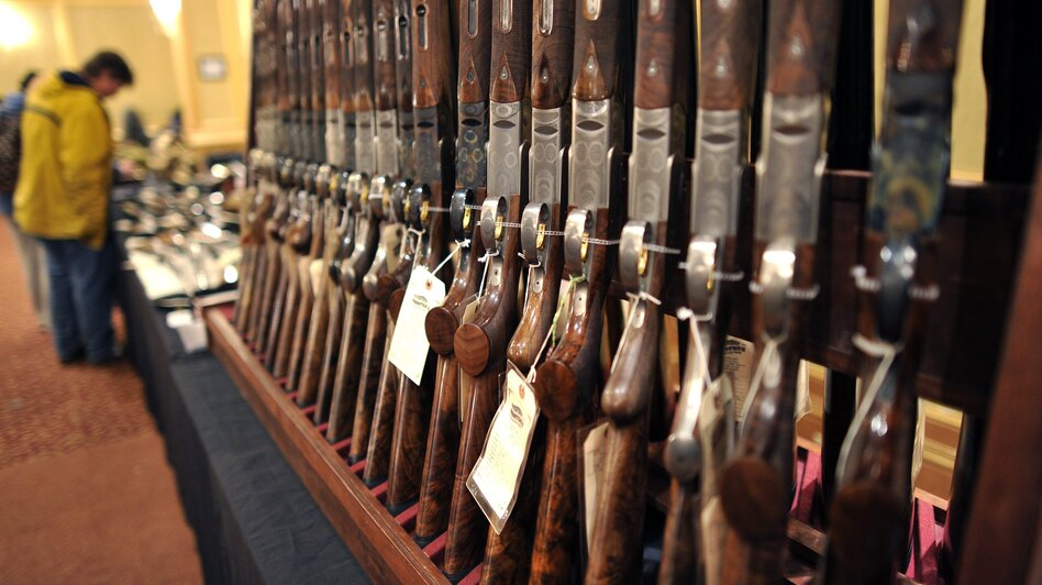 Shotguns sit on display at a gun show in Stamford, Conn. in January. (Timothy A. Clary/AFP/Getty Images)