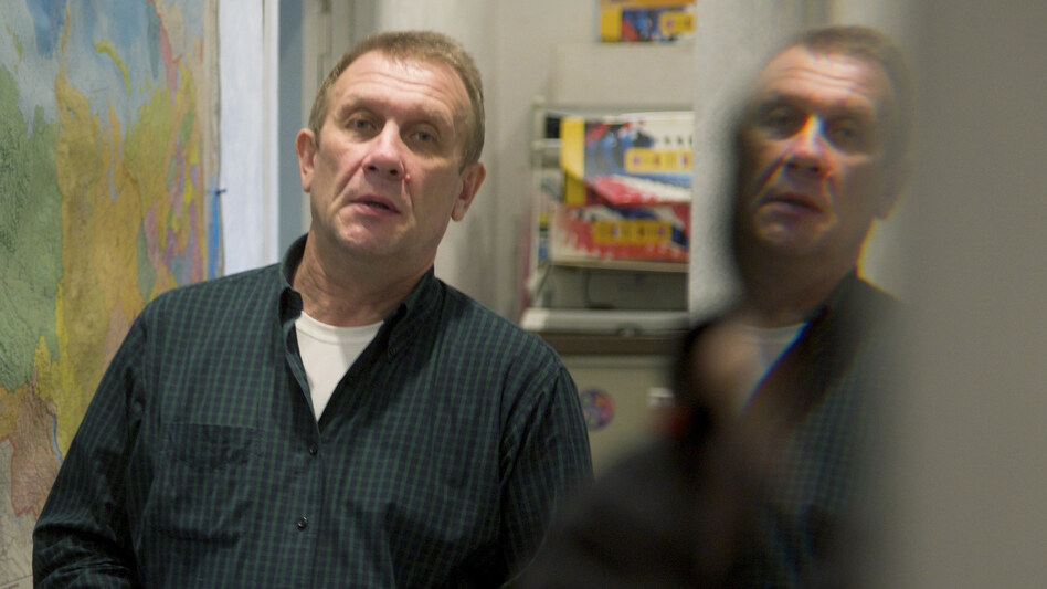 The chief of Amnesty International Russia, Sergei Nikitin, at his Moscow office on March 25, after Russian prosecutors and tax police carried out a search. The group is one of many that have been searched under a new law that critics say is being used to stifle dissent. (AP)