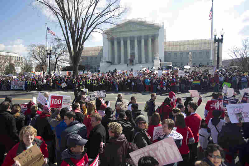 Crowds swarm outside the Supreme Court. Same-sex marriage takes center stage today as the justices begin hearing oral arguments on the emotionally charged issue that has split the nation.