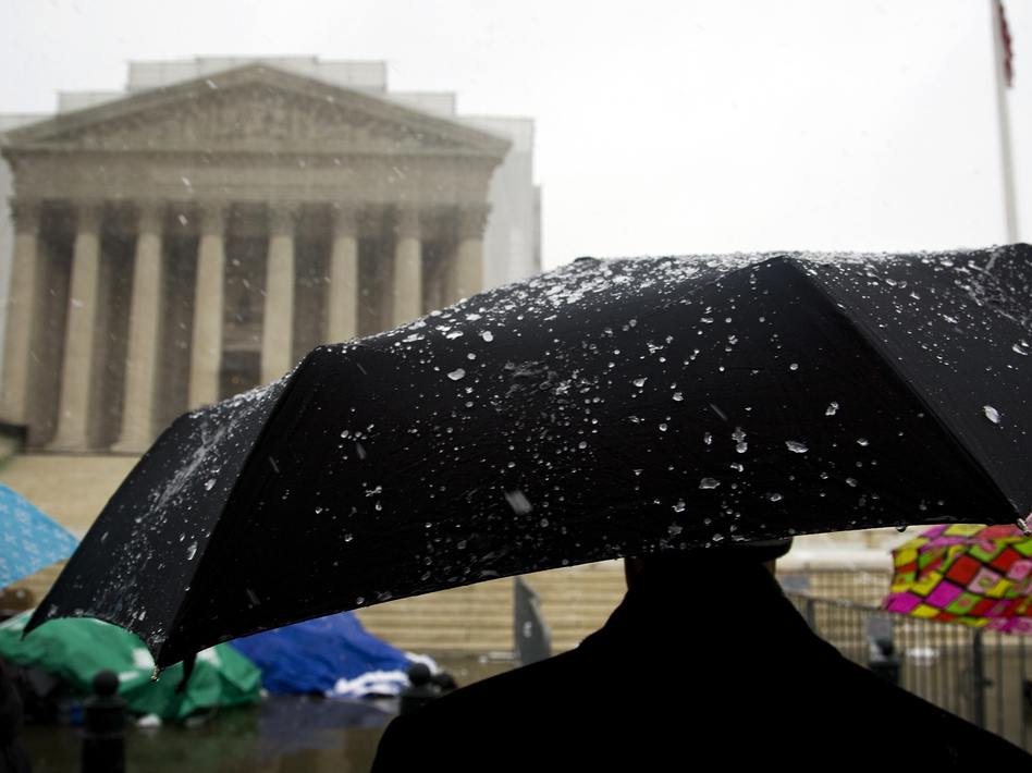 Some have been lined up for days — including during Monday's snow and rain — to insure they'll be inside the Supreme Court when the justices hear oral arguments about two laws involving same-sex marriage.