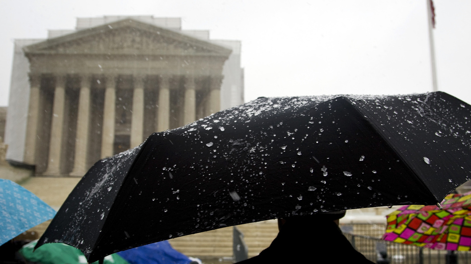 Some have been lined up for days — including during Monday's snow and rain — to insure they'll be inside the Supreme Court when the justices hear oral arguments about two laws involving same-sex marriage. (Reuters /Landov)