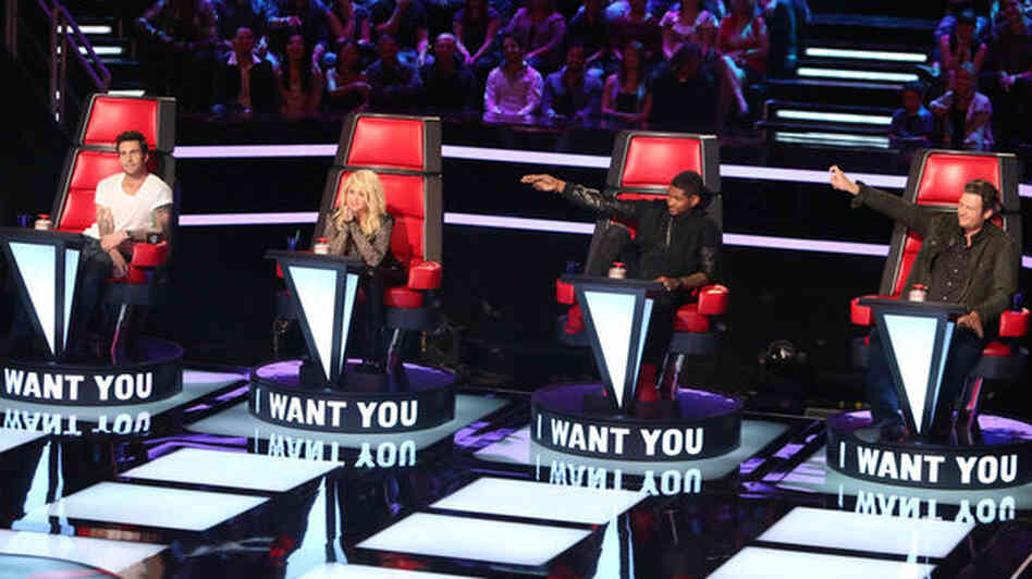 Adam Levine, Shakira, Usher, and Blake Shelton make up the adjusted judging panel on NBC's The Voice.