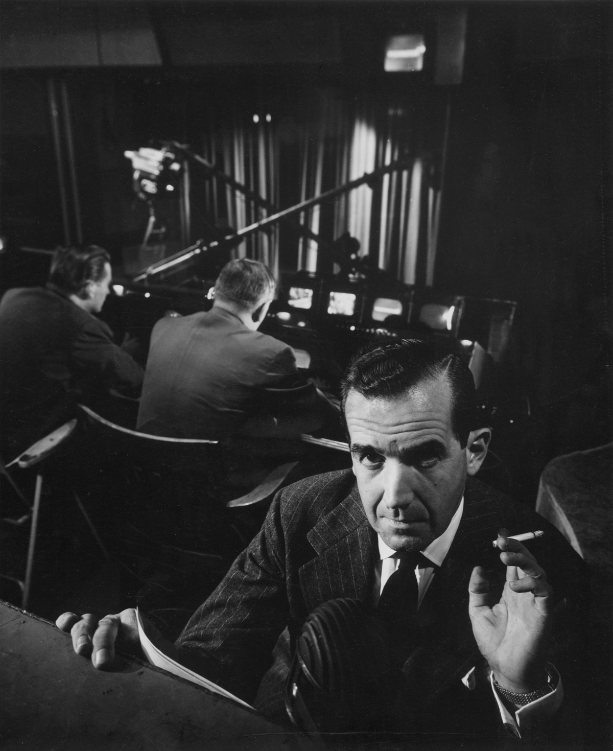 American newscaster Edward R. Murrow at CBS Studios, New York City, 1951