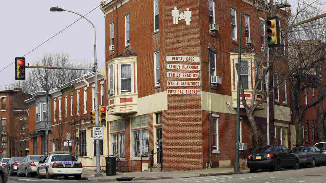 A police car is posted outside the Women's Medical Society in Philadelphia, on Jan. 20, 2011. Dr. Kermit Gosnell, accused of murder, performed abortions in the clinic.