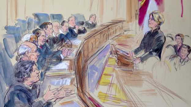 This artist rendering shows Roberta Kaplan, attorney for plaintiff Edith Windsor, addressing the Supreme Court during arguments on the Defense of Marriage Act on Wednesday. (AP)
