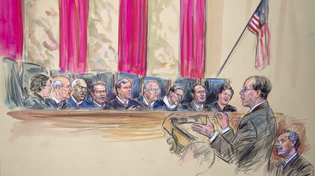 This artist rendering shows Paul Clement (second from left) with Solicitor General Donald B. Verrilli Jr. (seated, right), addressing the Supreme Court on Wednesday. Justices pictured are (from left) Sonia Sotomayor, Stephen Breyer, Clarence Thomas, Antonin Scalia, Chief Justice John Roberts, Anthony Kennedy, Ruth Bader Ginsburg, Samuel Alito and Elena Kagan. (AP)