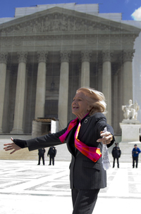 Plaintiff Edith Windsor, who challenged the federal Defense of Marriage Act, looks toward supporters in front of the Supreme Court on Wednesday.