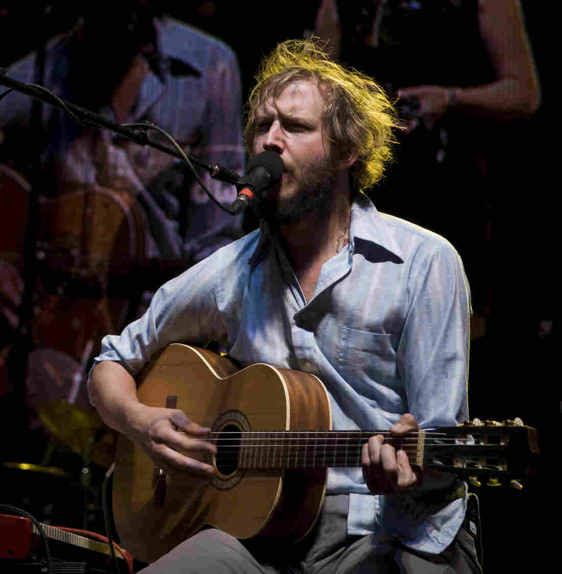 "Bon Iver's Justin Vernon in 2009, after the release of his mostly acoustic debut album, but before the group's second album, which includes the '80s-inspired saxophone jam ""Beth/Rest."" (Yes, we noticed that his guitar is plugged in.)"