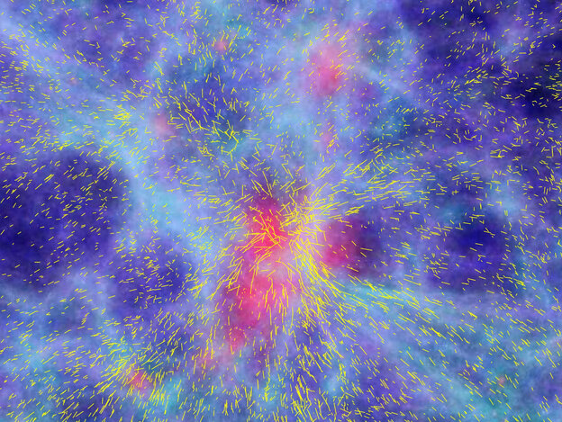 A computer simulation of the formation of large-scale structures in the Universe, showing a patch of 100 million light-years and the resulting coherent motions of galaxies flowing towards the highest mass concentration in the centre. The snapshot refers to an epoch about 10 billion years back in time.