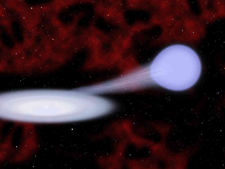 Artist's conception showing the suspected progenitor of a new kind of supernova called Type Iax.